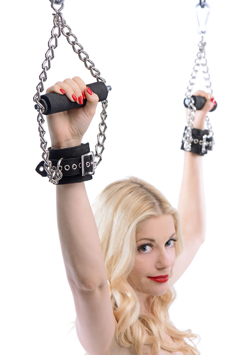 Suspension Cuffs Faux Fur And Leather And Metal Black And Silver