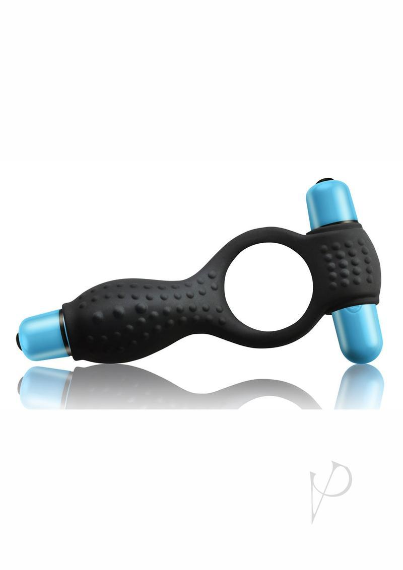 Remix 7 Speed Vibrating Silicone Couples Cock Ring Waterproof Black And Blue